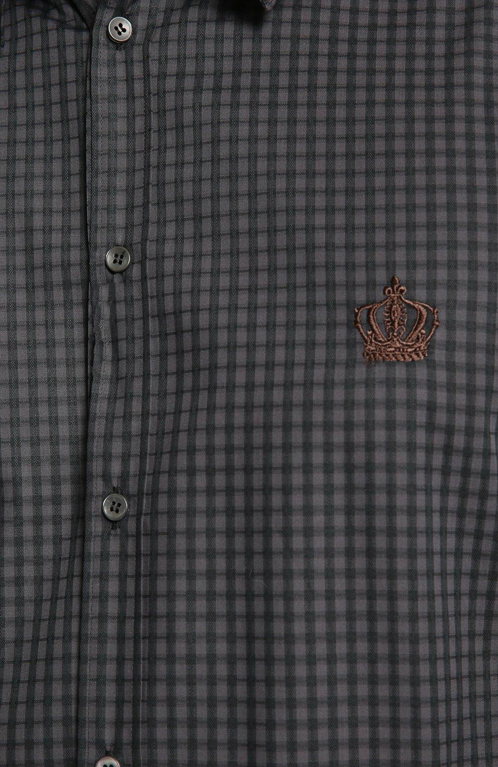 Хлопковая рубашка в клетку и вышивкой на груди Dolce & Gabbana серая | Фото №5