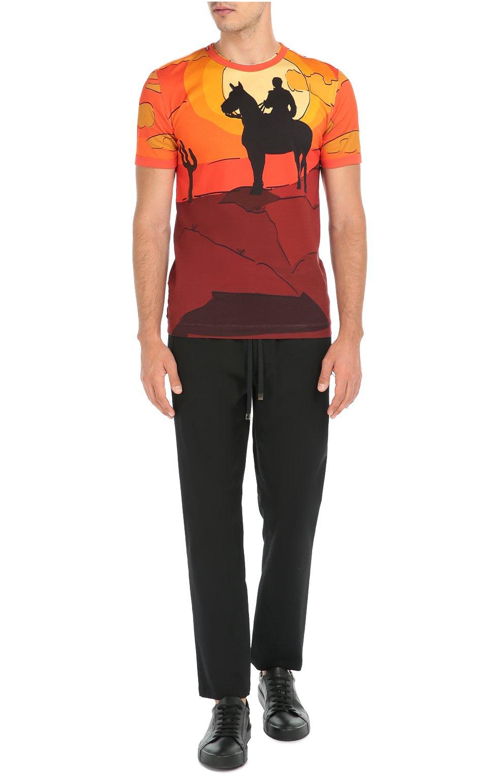 Хлопковая футболка с принтом Dolce & Gabbana красная | Фото №2