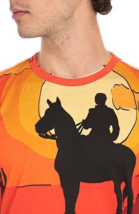 Хлопковая футболка с принтом Dolce & Gabbana красная | Фото №5