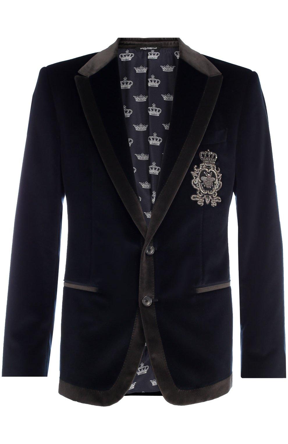Бархатный пиджак с заостренными лацканами и нашивкой | Фото №1