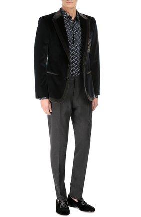 Бархатный пиджак с заостренными лацканами и нашивкой | Фото №2