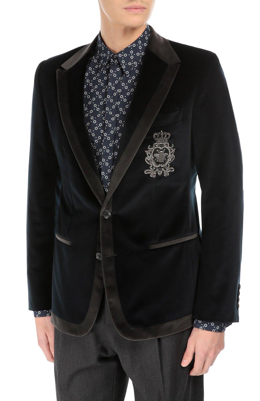 Бархатный пиджак с заостренными лацканами и нашивкой | Фото №3