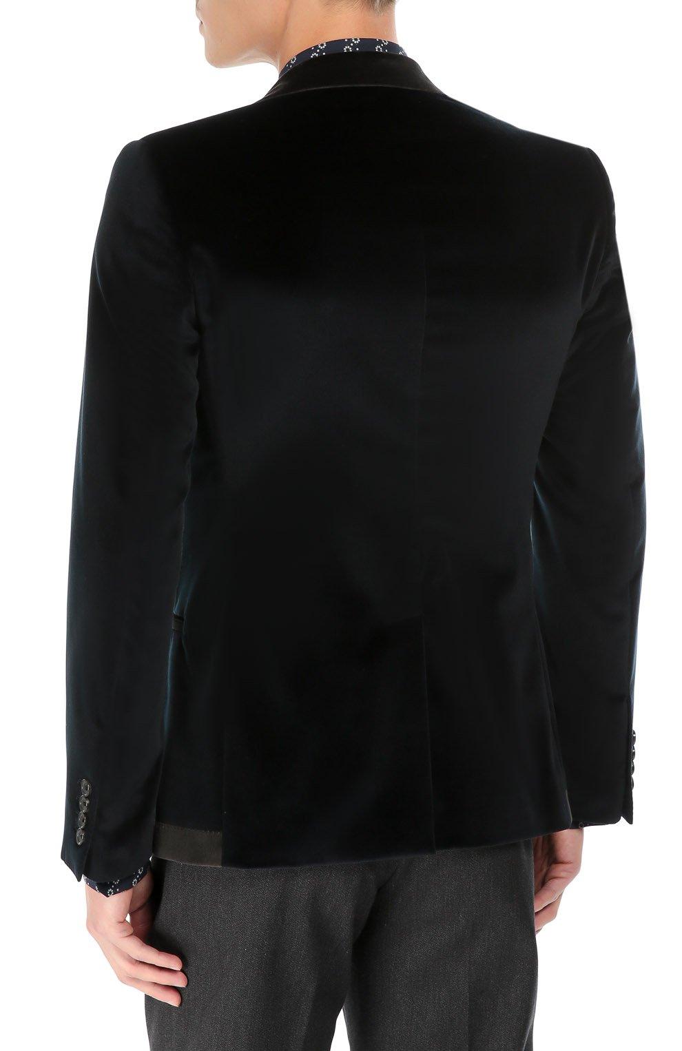 Бархатный пиджак с заостренными лацканами и нашивкой | Фото №4