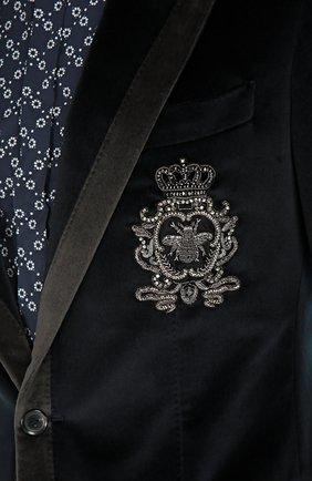 Бархатный пиджак с заостренными лацканами и нашивкой | Фото №5