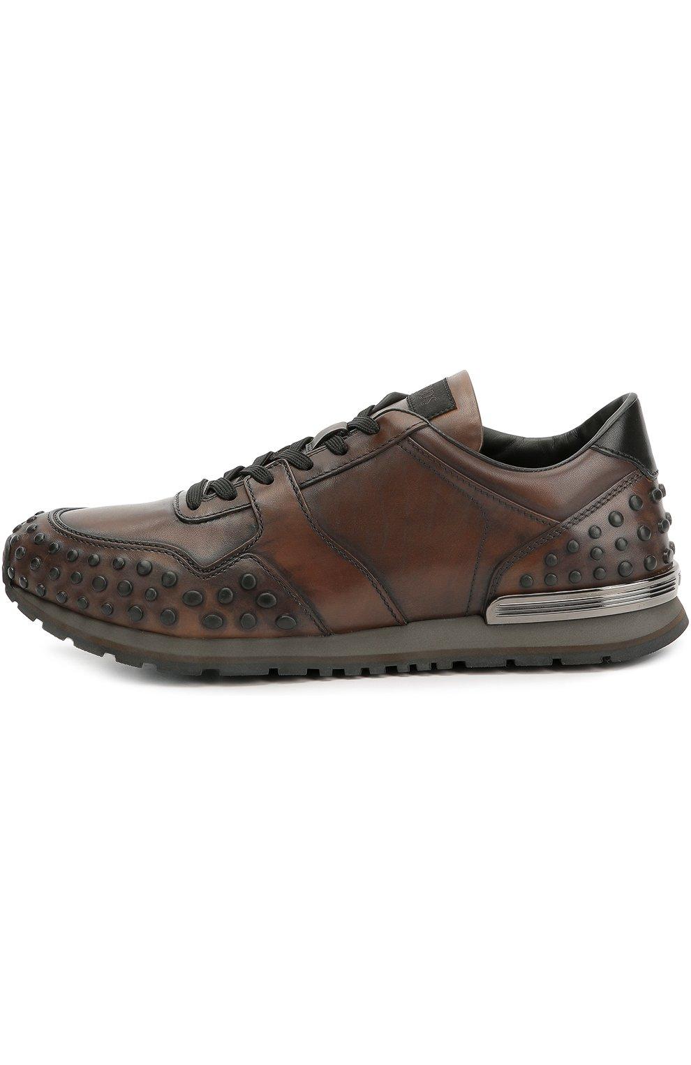 Кожаные кроссовки с фактурной отделкой | Фото №1