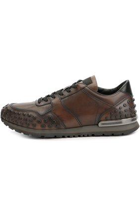 Кожаные кроссовки с фактурной отделкой Tod's коричневые | Фото №1