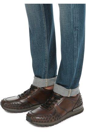 Кожаные кроссовки с фактурной отделкой Tod's коричневые | Фото №2