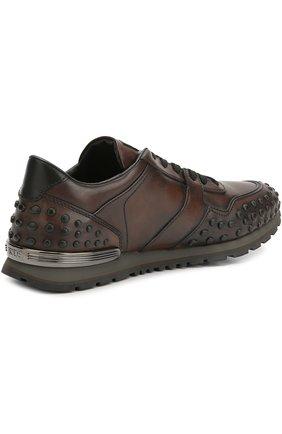Кожаные кроссовки с фактурной отделкой Tod's коричневые | Фото №4