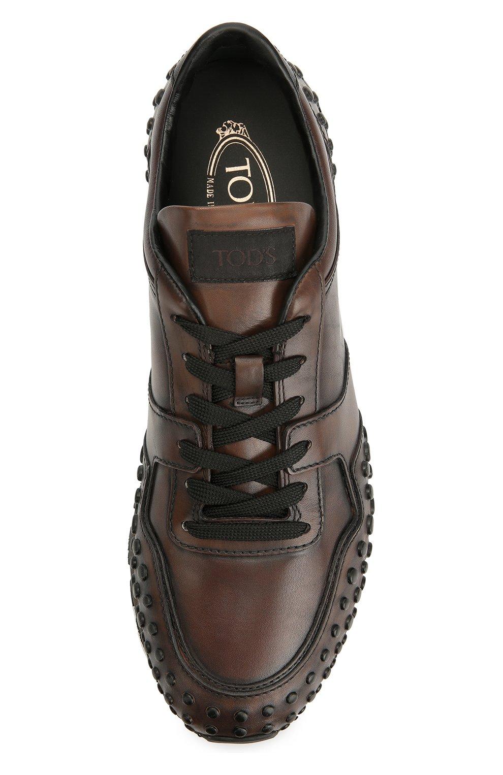 Кожаные кроссовки с фактурной отделкой Tod's коричневые | Фото №5