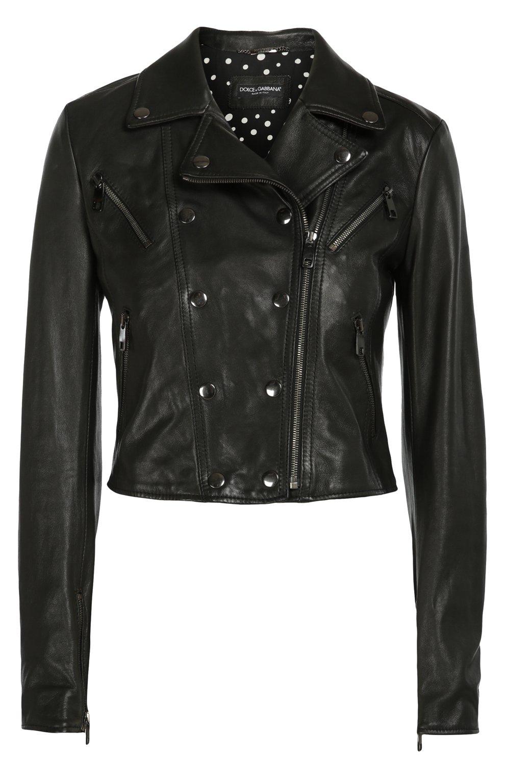 Кожаная укороченная куртка с косой молнией   Фото №1
