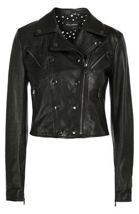 Кожаная укороченная куртка с косой молнией Dolce & Gabbana черная   Фото №1