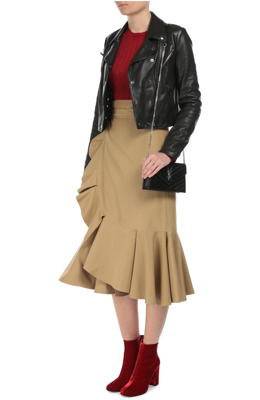 Кожаная укороченная куртка с косой молнией Dolce & Gabbana черная   Фото №2