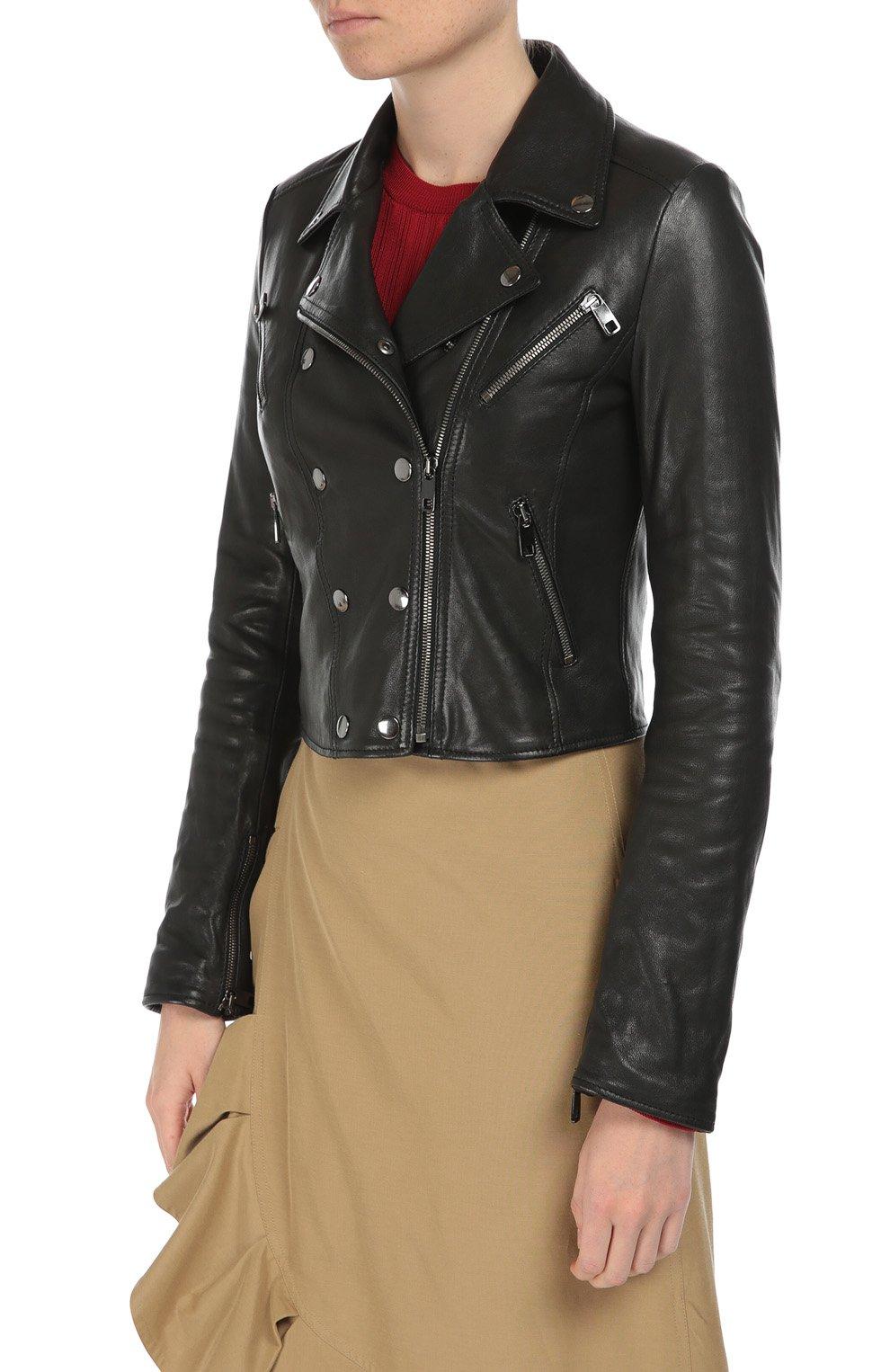 Кожаная укороченная куртка с косой молнией Dolce & Gabbana черная   Фото №3