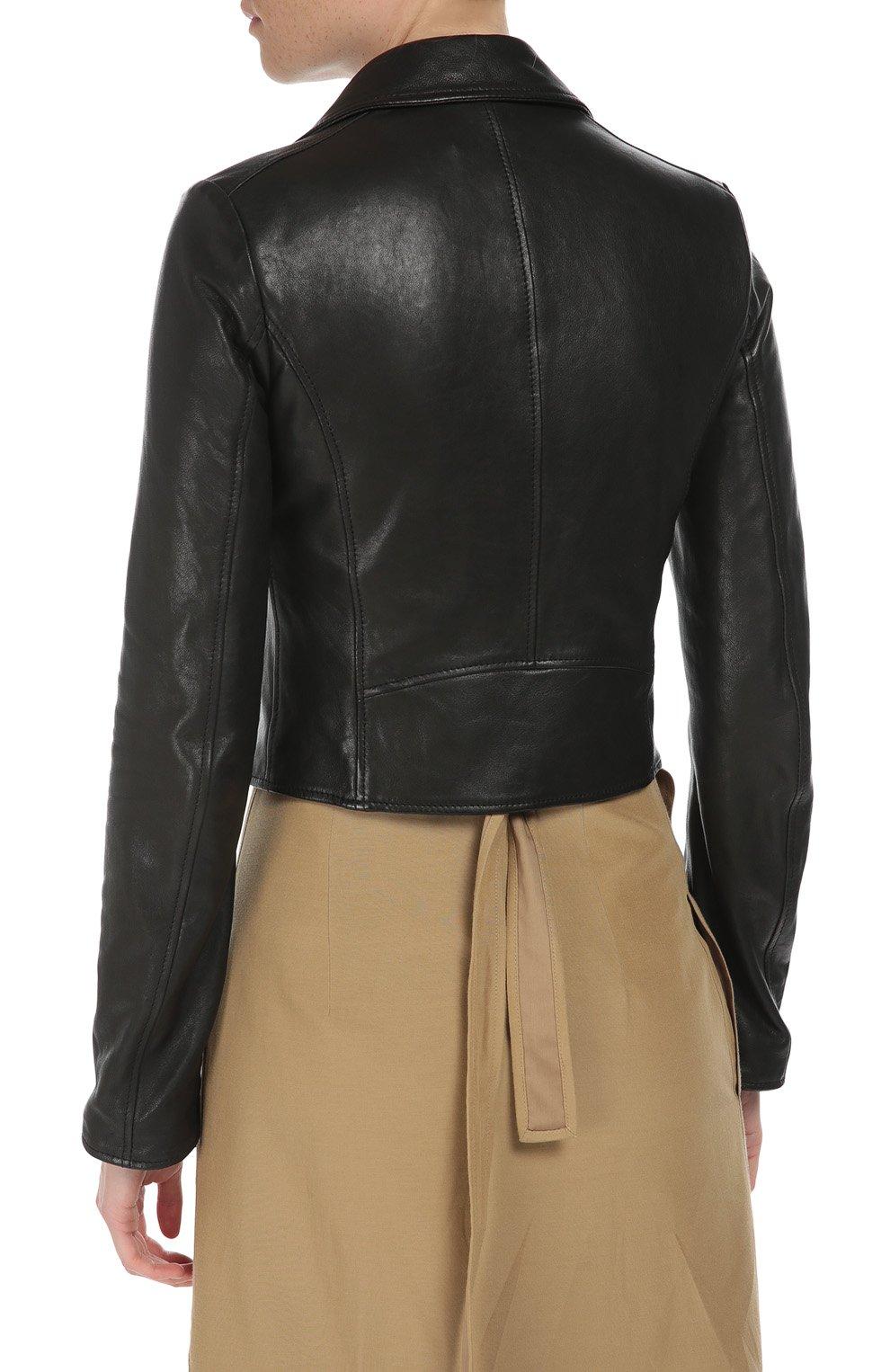 Кожаная укороченная куртка с косой молнией Dolce & Gabbana черная   Фото №4