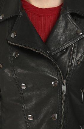 Кожаная укороченная куртка с косой молнией Dolce & Gabbana черная   Фото №5