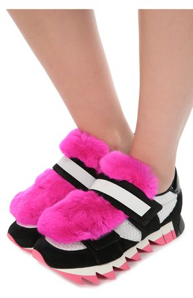 Комбинированные кроссовки Capri с меховой отделкой | Фото №2