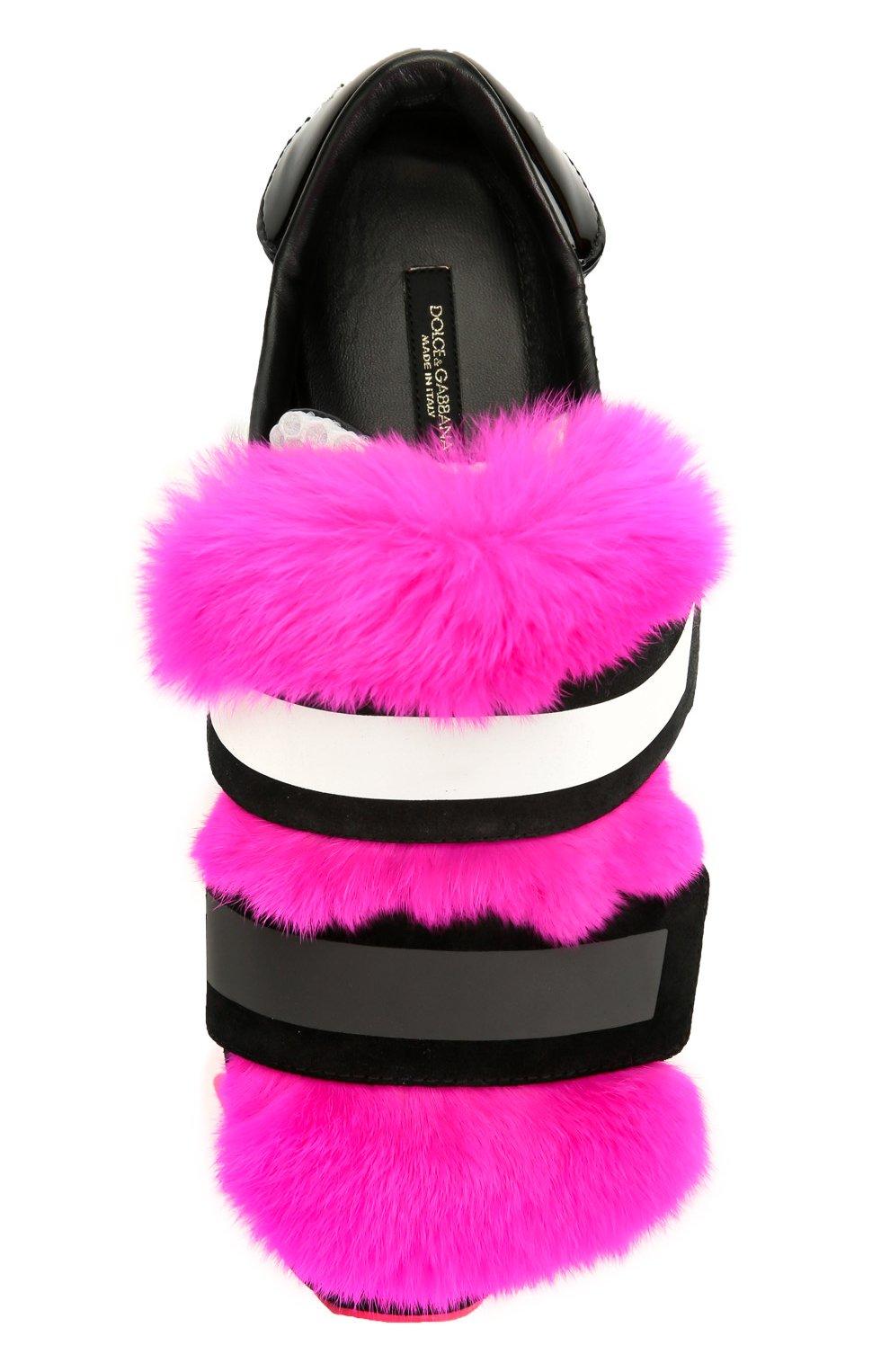 Комбинированные кроссовки Capri с меховой отделкой | Фото №6
