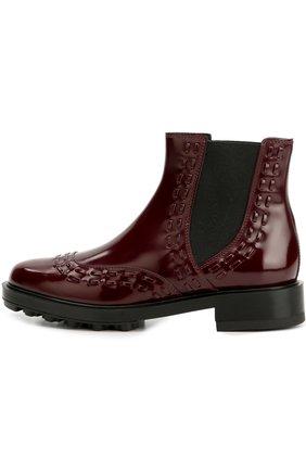 Лаковые ботинки с декором Tod's бордовые | Фото №1