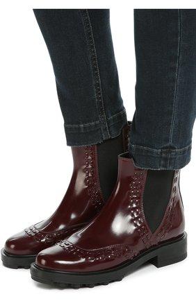 Лаковые ботинки с декором Tod's бордовые | Фото №2