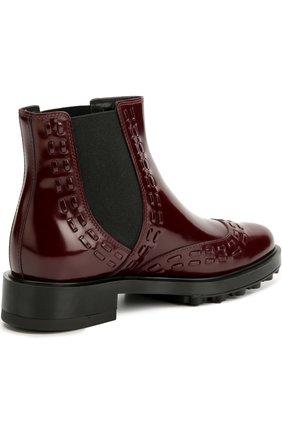 Лаковые ботинки с декором Tod's бордовые | Фото №4