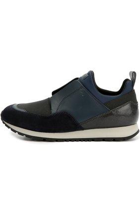 Комбинированные кроссовки с эластичной вставкой Tod's синие | Фото №1