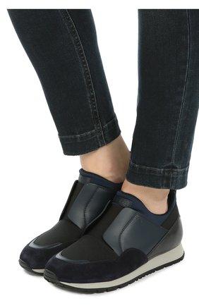 Комбинированные кроссовки с эластичной вставкой Tod's синие | Фото №2