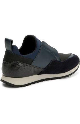 Комбинированные кроссовки с эластичной вставкой Tod's синие | Фото №4
