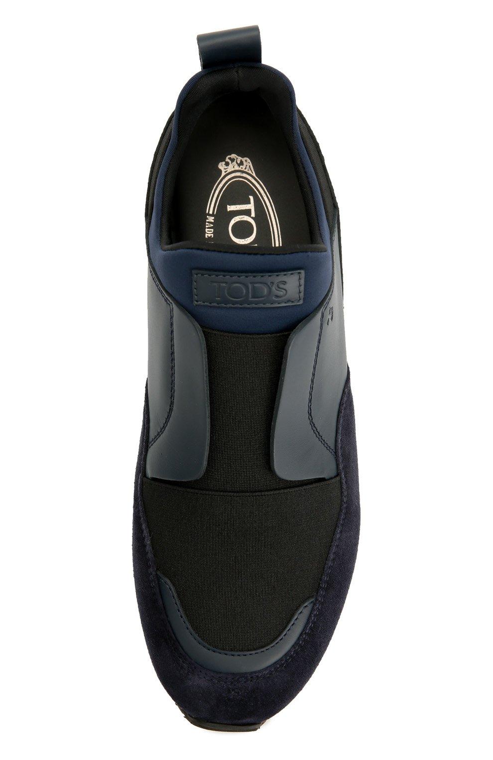 Комбинированные кроссовки с эластичной вставкой Tod's синие | Фото №5