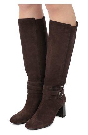 Замшевые сапоги Gomma с ремешками Tod's темно-коричневые | Фото №2