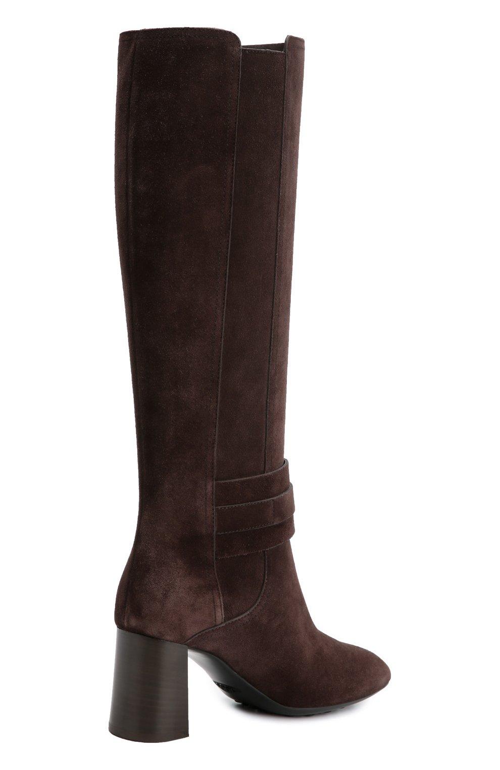 Замшевые сапоги Gomma с ремешками Tod's темно-коричневые | Фото №4