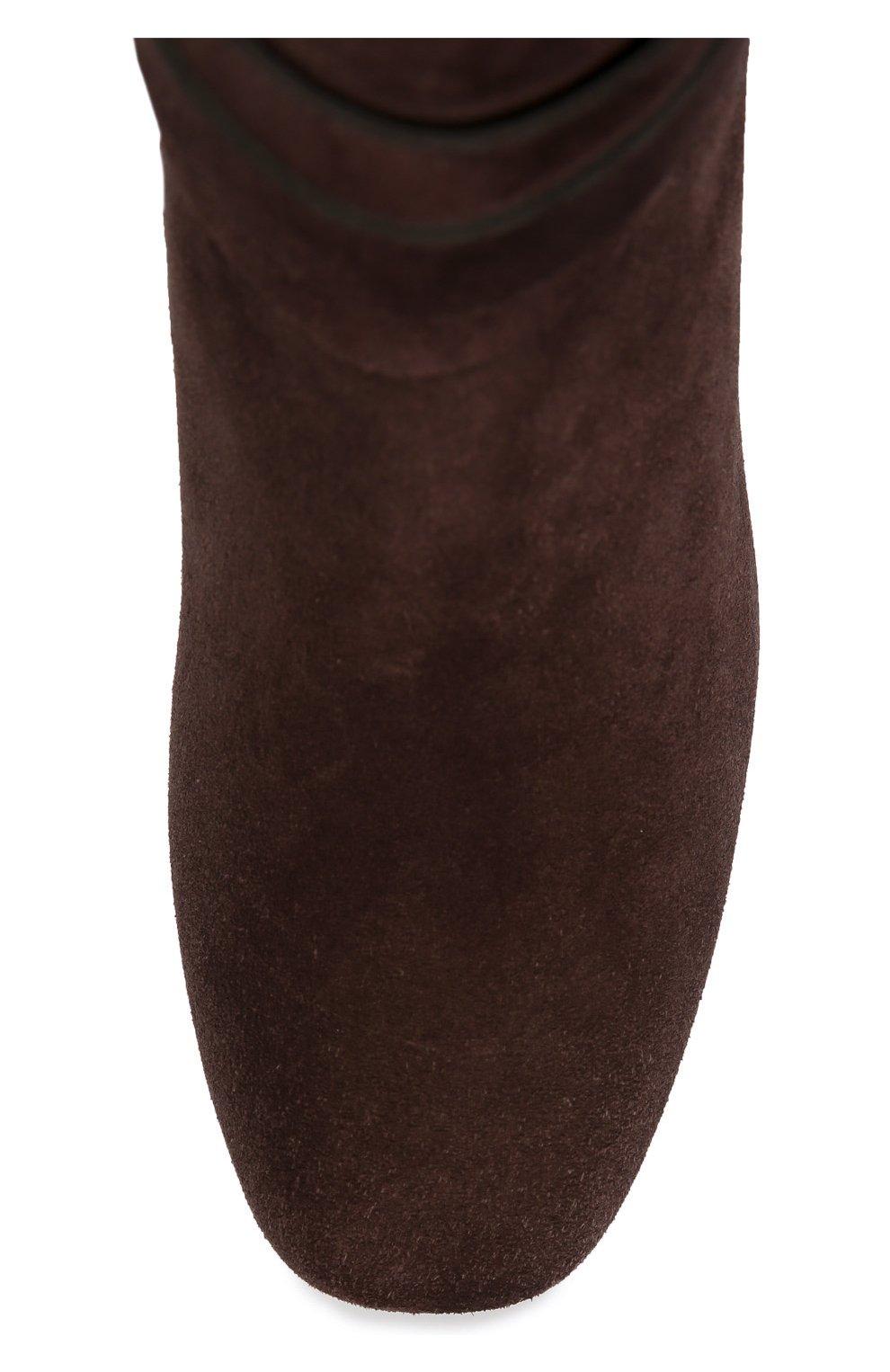 Замшевые сапоги Gomma с ремешками Tod's темно-коричневые | Фото №5