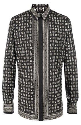 Хлопковая рубашка с принтом Dolce & Gabbana черная | Фото №1