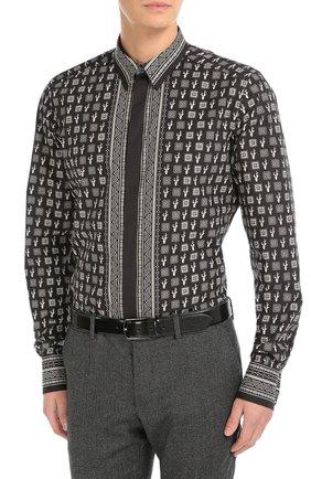 Хлопковая рубашка с принтом Dolce & Gabbana черная | Фото №3