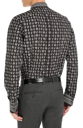 Хлопковая рубашка с принтом Dolce & Gabbana черная | Фото №4