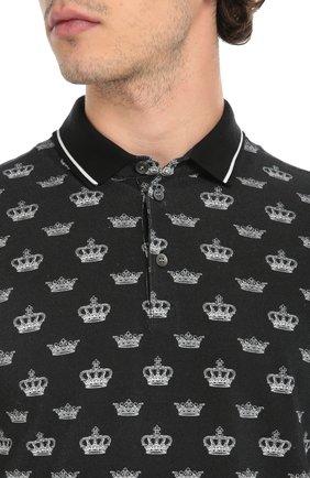 Хлопковое поло с принтом Dolce & Gabbana черное | Фото №5