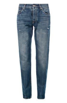 Джинсы прямого кроя с потертостями и вышивкой Dolce & Gabbana голубые | Фото №1