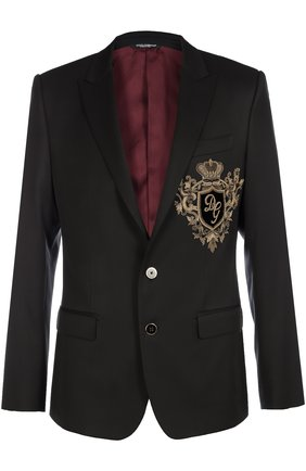 Шерстяной пиджак с вышивкой канителью Dolce & Gabbana синий | Фото №1