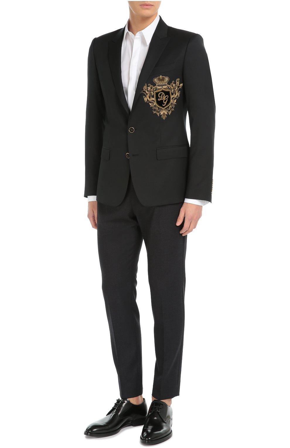 Шерстяной пиджак с вышивкой канителью Dolce & Gabbana синий | Фото №2