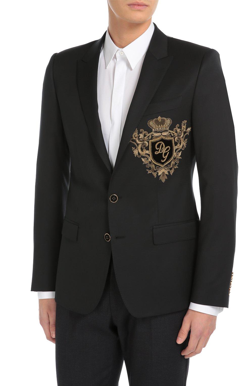 Шерстяной пиджак с вышивкой канителью Dolce & Gabbana синий | Фото №3