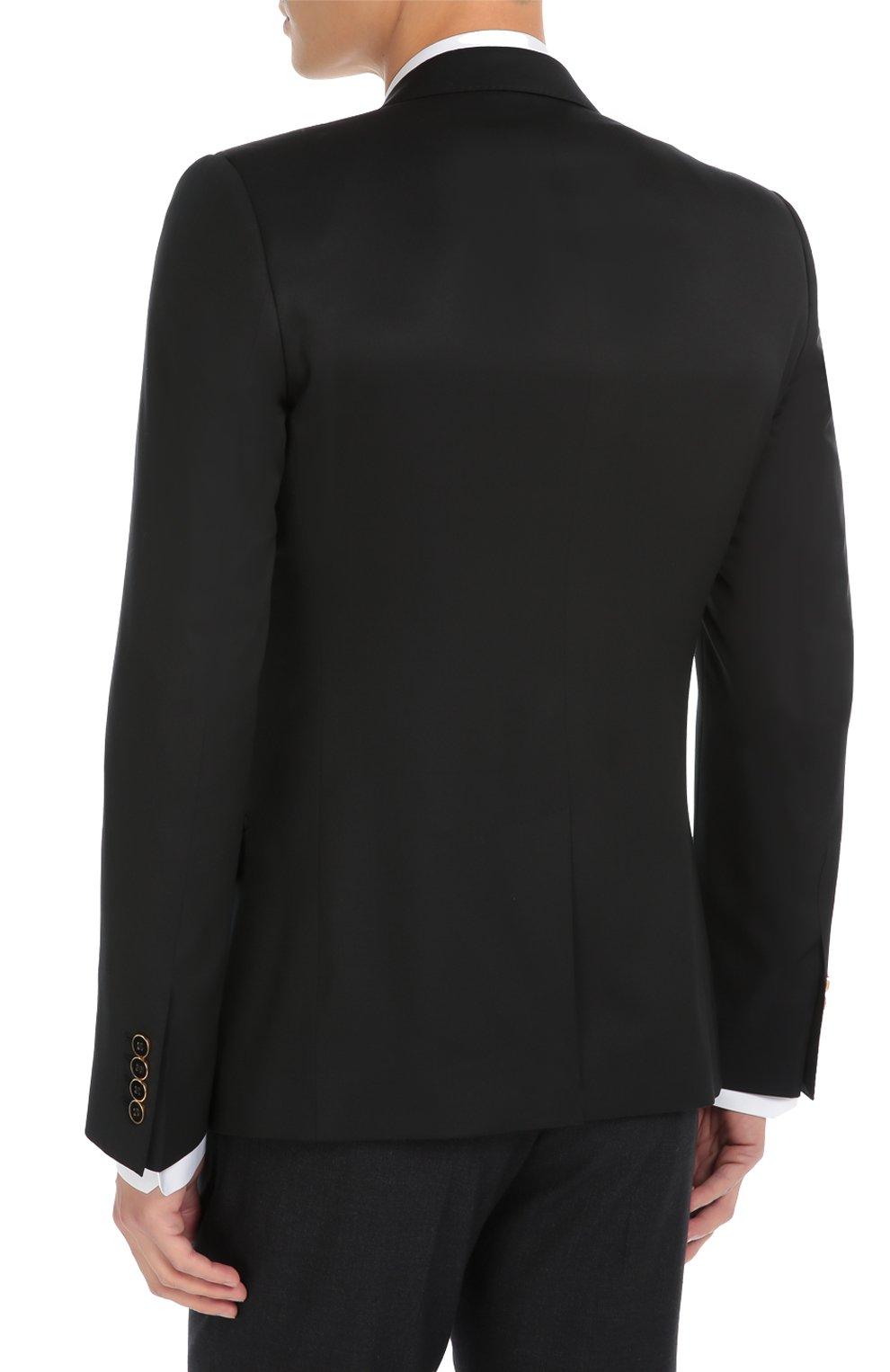 Шерстяной пиджак с вышивкой канителью Dolce & Gabbana синий | Фото №4