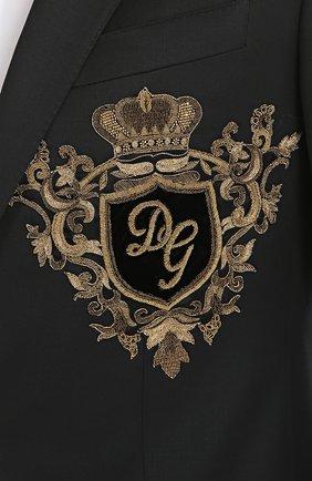 Шерстяной пиджак с вышивкой канителью Dolce & Gabbana синий | Фото №5