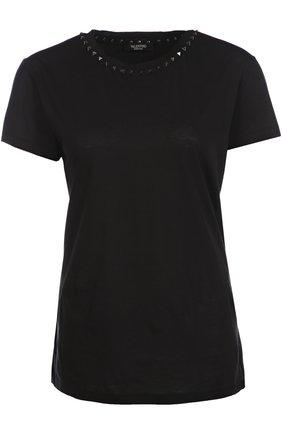 Хлопковая футболка прямого кроя с заклепками | Фото №1