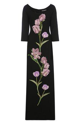 Платье в пол с укороченным рукавом и цветочной отделкой Dolce & Gabbana черное | Фото №1