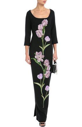 Платье в пол с укороченным рукавом и цветочной отделкой Dolce & Gabbana черное | Фото №2