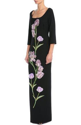 Платье в пол с укороченным рукавом и цветочной отделкой Dolce & Gabbana черное | Фото №3