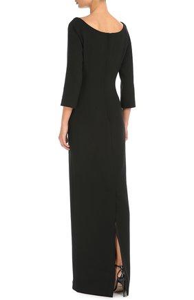 Платье в пол с укороченным рукавом и цветочной отделкой Dolce & Gabbana черное | Фото №4