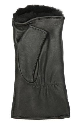 Кожаные перчатки без пальцев с подкладкой из меха кролика Agnelle черные | Фото №1