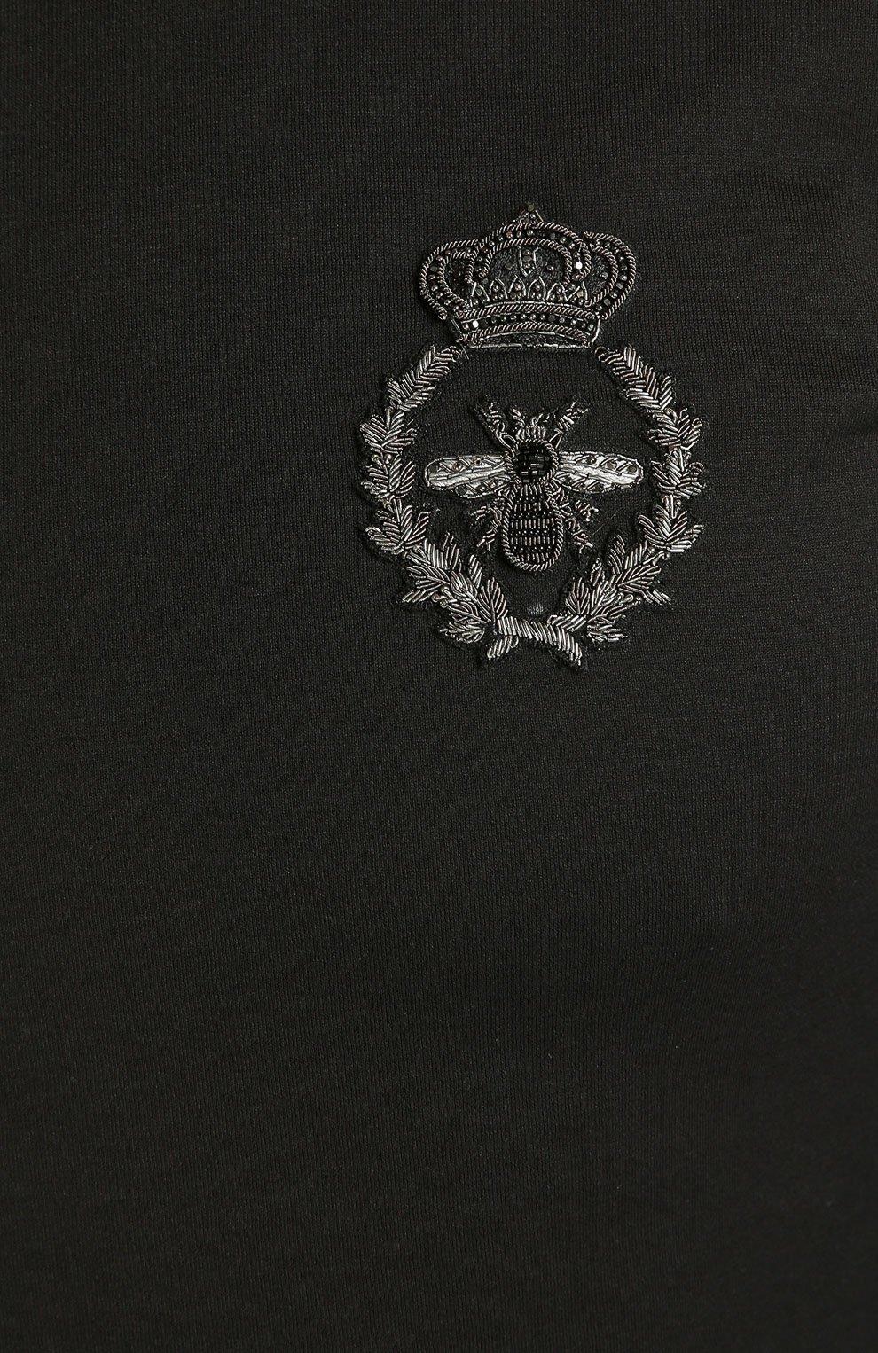 Хлопковый лонгслив с нашивкой Dolce & Gabbana черная | Фото №5