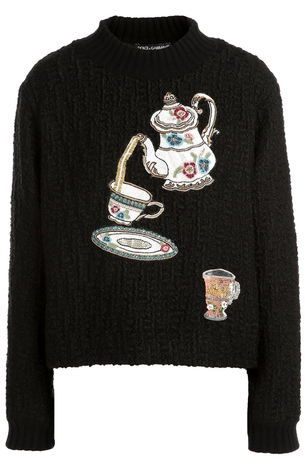 Пуловер фактурной вязки с вышивкой пайетками | Фото №1