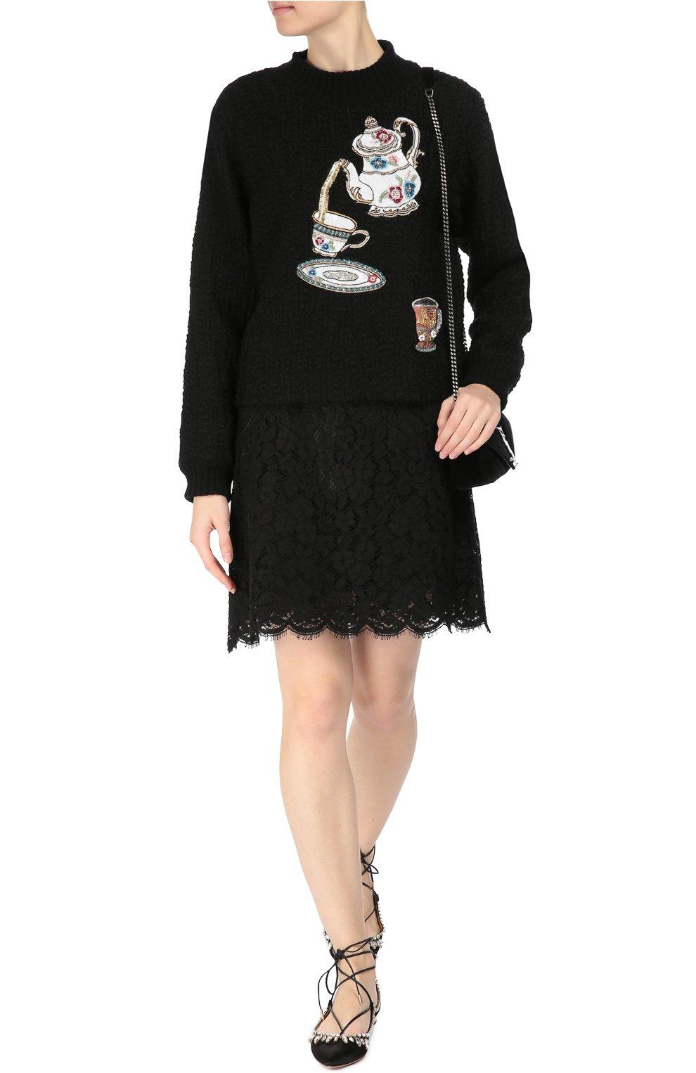 Пуловер фактурной вязки с вышивкой пайетками | Фото №2